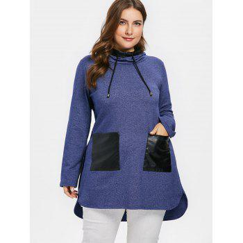 Plus Size PU Pocket Color Block Hoodie - STEEL BLUE 5X