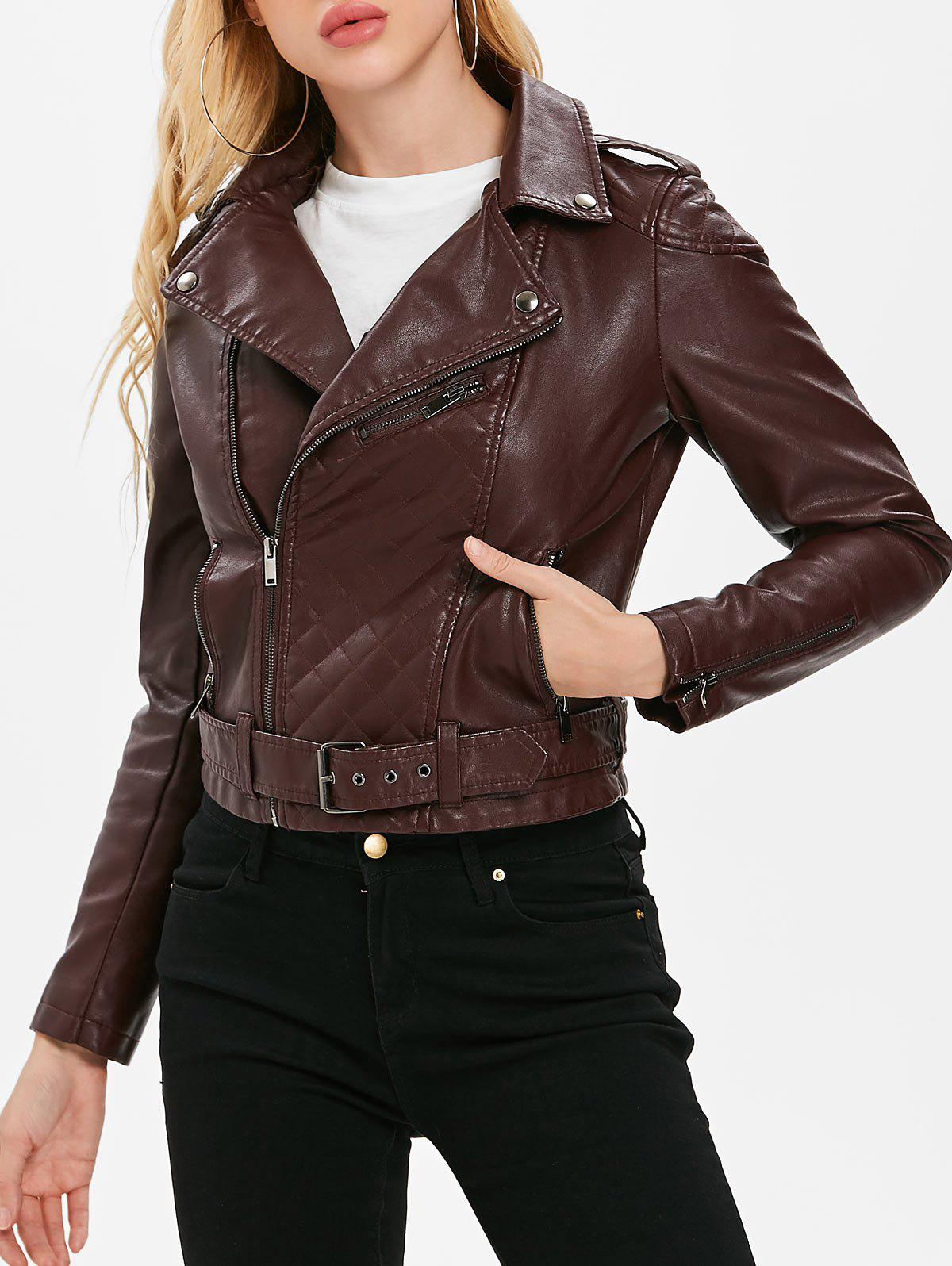 Faux Leather Oblique Zipper Jacket - RED WINE XL