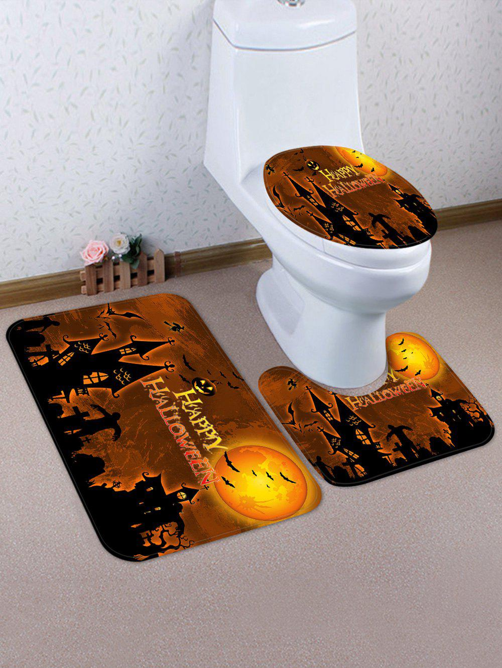 2018 Halloween Castle Pattern 3 Pcs Toilet Mat Set TIGER ORANGE In ...
