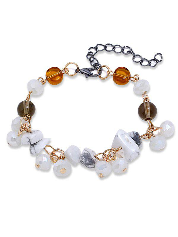 Artificial Gemstone Beads Chain Bracelet - WHITE
