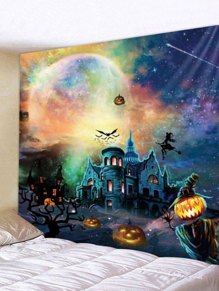 Halloween Pumpkin Castle Witch Tapestry Wall Decoration - multicolor W91 INCH * L71 INCH