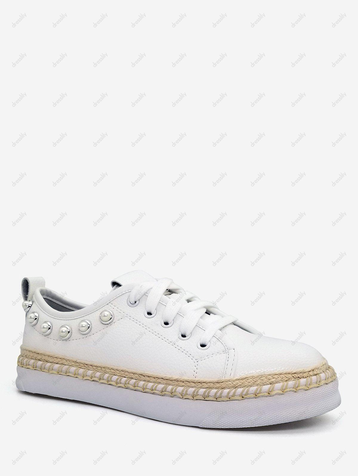 Studded Trim Platform Espadrille Sneakers - WHITE 39