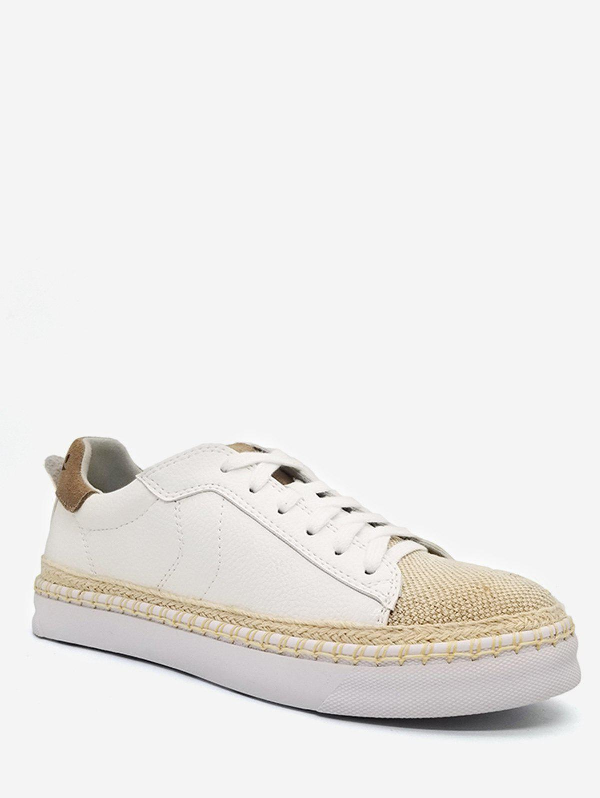 Woven Straw Toe Platform Skate Sneakers - WHITE 39