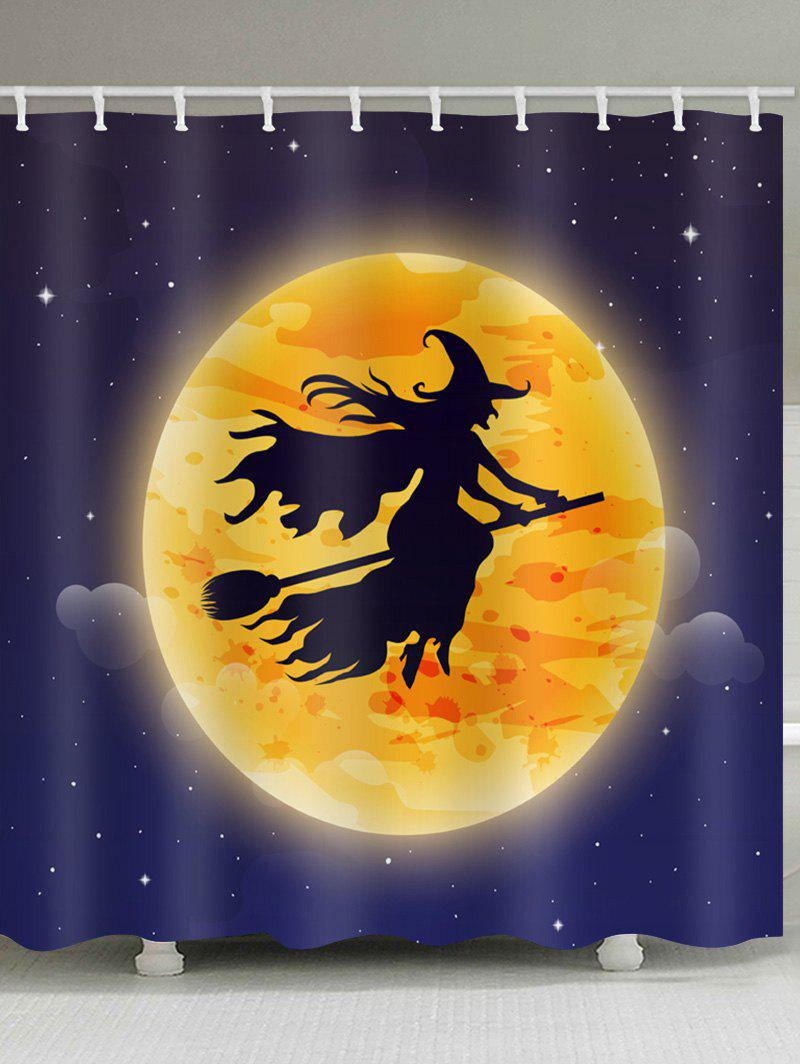 Halloween Moon Witch Print Waterproof Shower Curtain - multicolor W59 INCH * L71 INCH