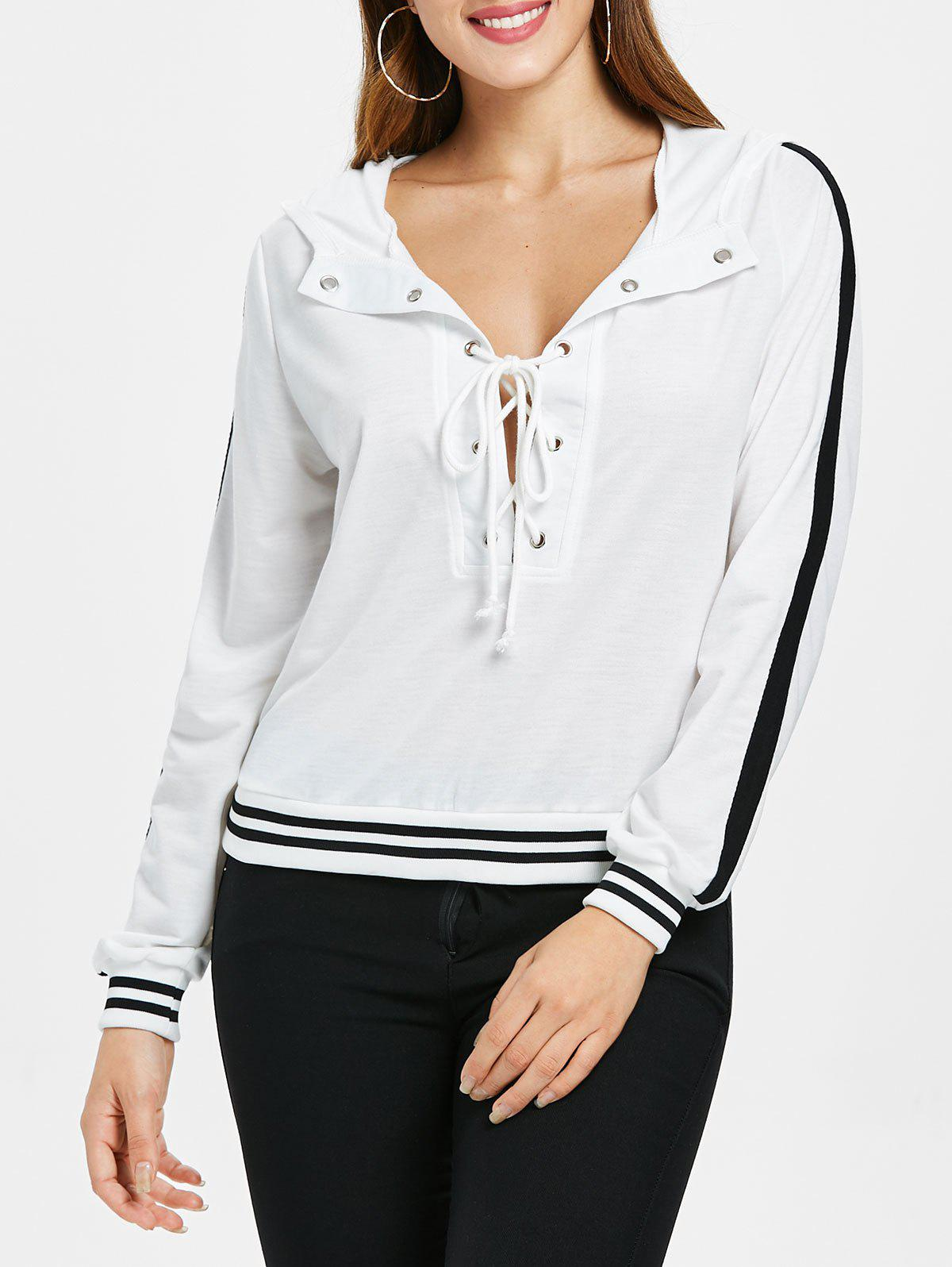 Criss Cross Low Cut Stripe Brim Hoodie - MILK WHITE L