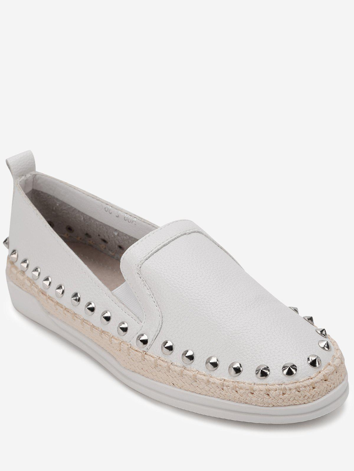 Baskets Mocassins à Bout Pointu en Cuir PU - Blanc 39