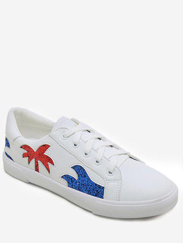 Sequined Tree Low Top Casual Sneakers - WHITE 38