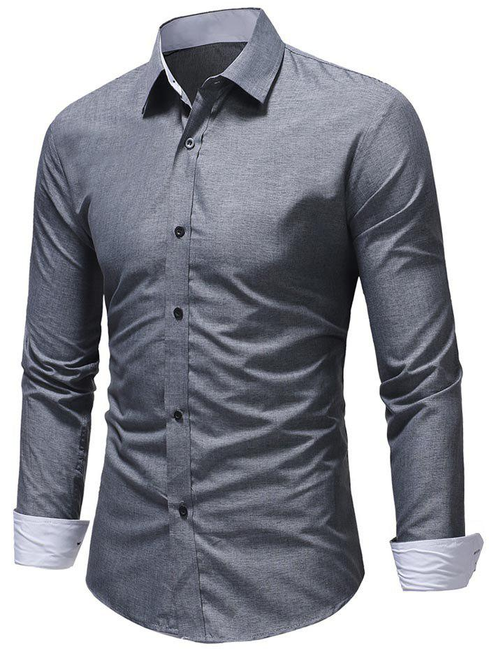 Textured Print Edge Patch Detail Casual Shirt - GRAY M