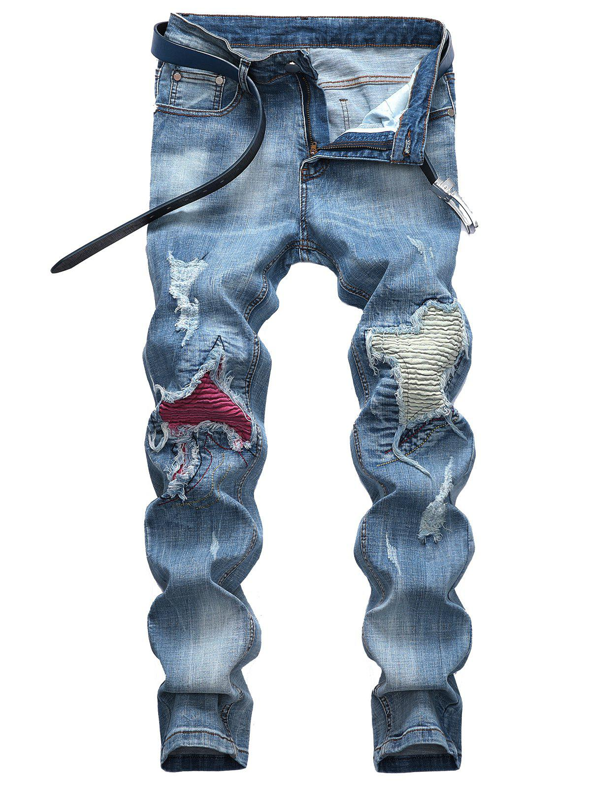 Casual Knee Ripped Hole Patchwork Biker Jeans - BLUE ANGEL 40