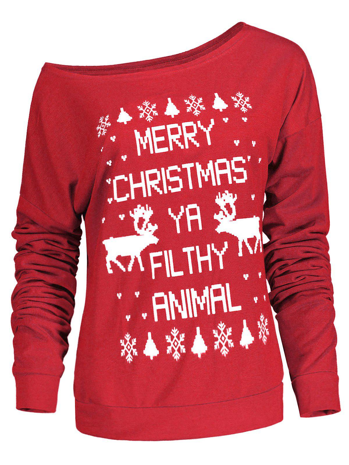Stylish Letter and Snowflake Print Pullover Christmas Sweatshirt For Women