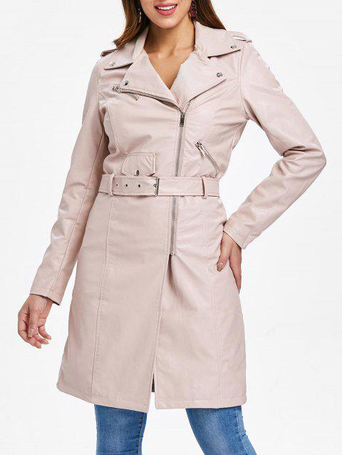 Zip Up PU Coat with Belt - LIGHT PINK XL