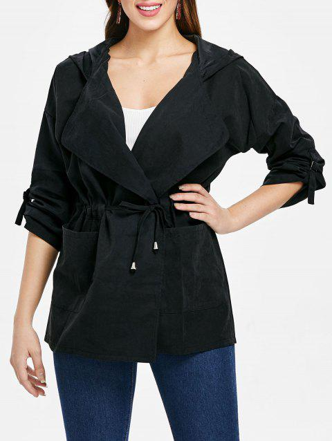 Hooded Drawstring Open Front Coat - BLACK M