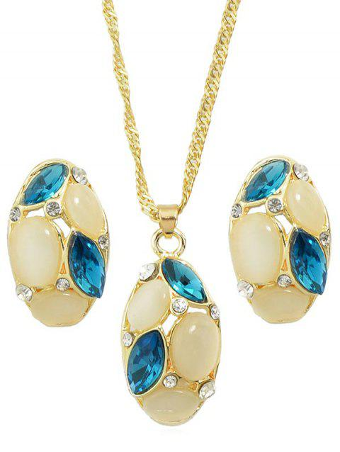 Oval Faux Gemstone Necklace Set - BLUE