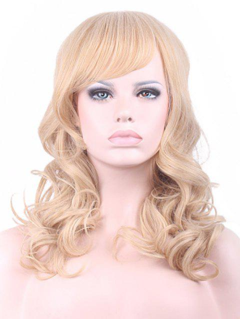 Long Side Bang Wavy Carnival Party Synthetic Wig - GOLD