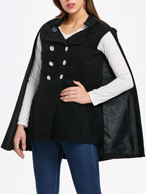Double Breasted Front Pocket Cape Coat - BLACK M