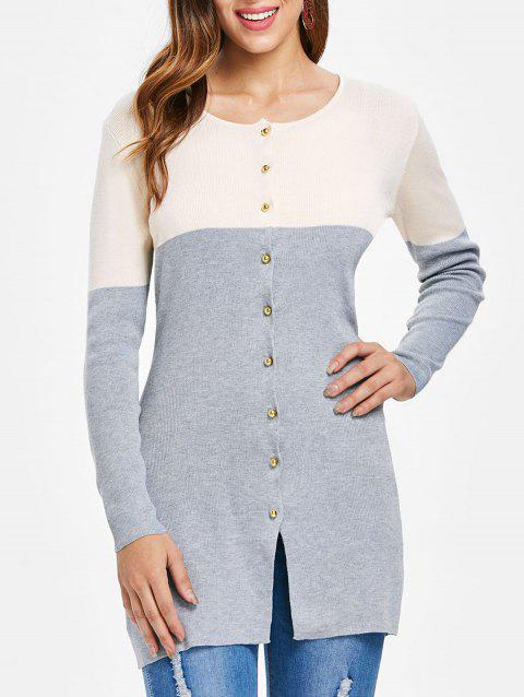 Button Up Color Block Cardigan - GRAY 2XL