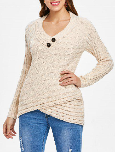 Button Embellished Cable Knit Sweater - APRICOT L
