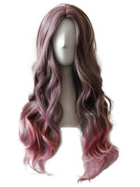 Long Center Parting Wavy Colormix Synthetic Cosplay Wig - multicolor