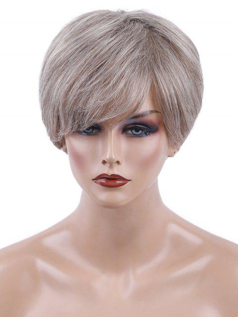 Inclined Bang Colormix Short Straight Human Hair Wig - multicolor