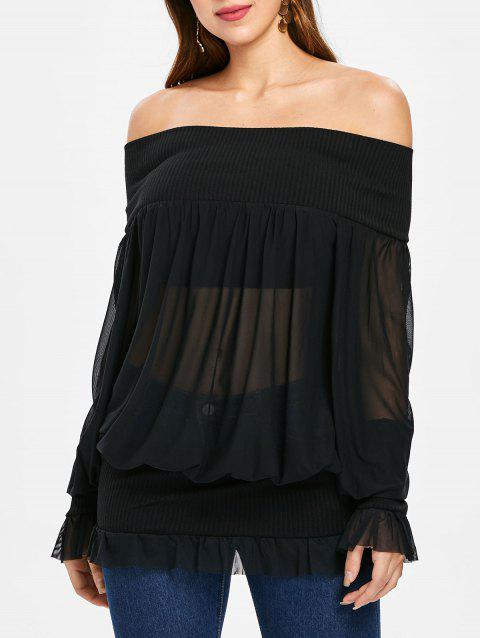 1d2c867d0f0a71 41% OFF  2019 Sheer Off Shoulder Tunic Top In BLACK XL