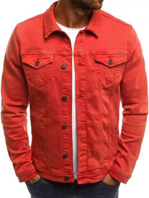 Turndown Collar Solid Color Jacket - BEAN RED XS