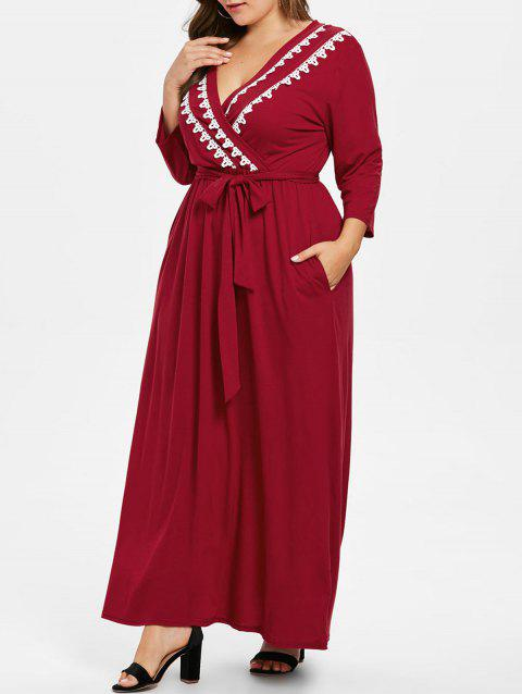 Plus Size Low Cut Pockets Floor Length Dress - RED WINE 2X