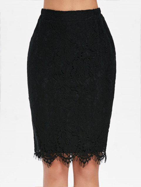 Lace Pencil Skirt - BLACK L