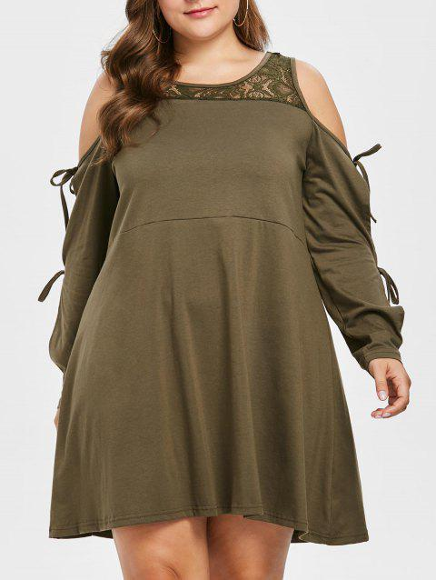 Plus Size Cold Shoulder Lace Yoke Dress - MOCCASIN 3X
