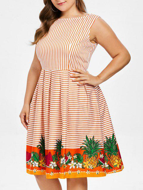 Plus Size Graphic Striped Vintage Dress - multicolor L