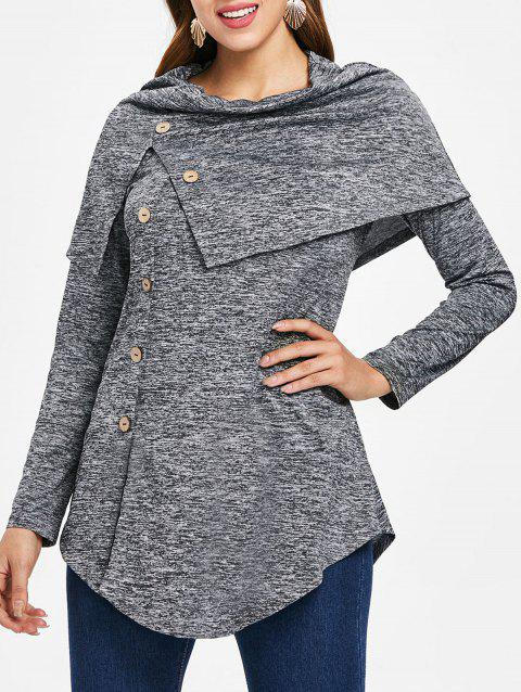 Long Sleeve Marled Capelet T-shirt - GRAY M