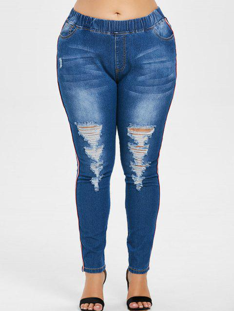 Side Striped Panel Plus Size Distressed Jeans - DENIM DARK BLUE 1X