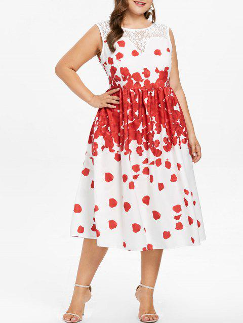 Plus Size Sleeveless Floral Petal Midi Dress - RED 2X