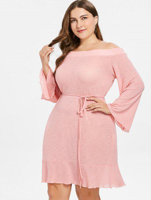 da9fede8f62 41% OFF  2019 Plus Size Flounce Knitted Shift Dress In LIGHT PINK ...