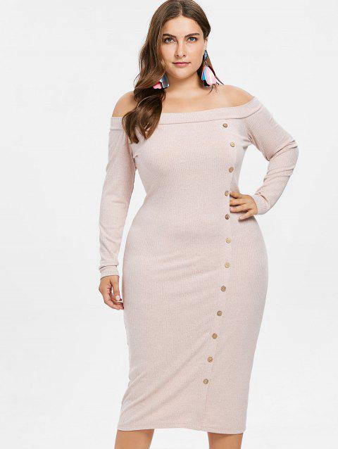 Plus Size Off Shoulder Buttoned Knit Dress - PINK BUBBLEGUM 4X