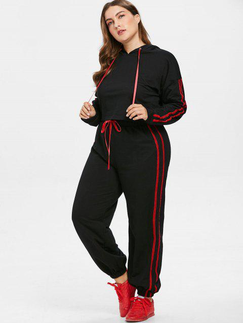 Plus Size Contrast Side Hoodie and Pants Set - BLACK 1X