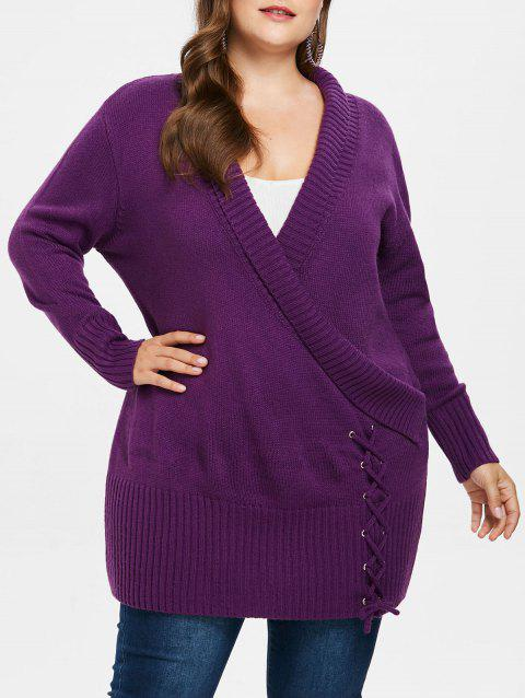 Plus Size Ripped Panel Long Sweater - PURPLE JAM 2X