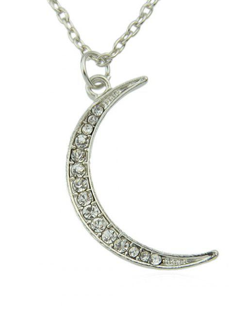 Rhinestone Crescent Moon Shaped Pendant Chain Necklace - SILVER