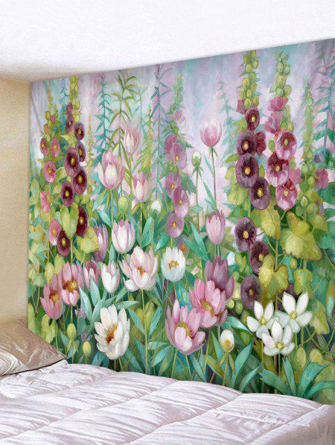 Flower And Leaves Print Removable Wall Tapestry - CLOVER GREEN W59 INCH * L51 INCH