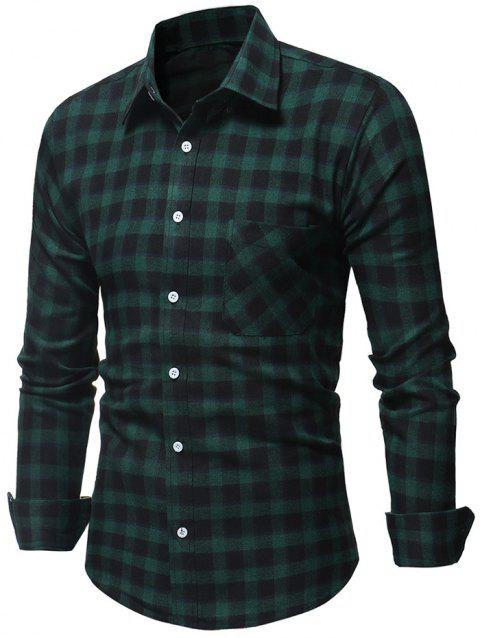 Single Chest Pocket Casual Checked Shirt - GREEN L