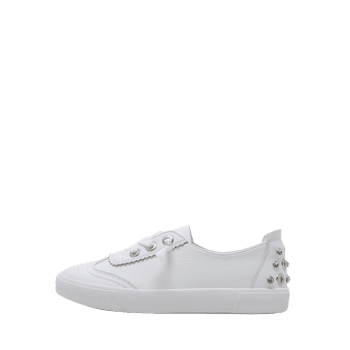 Round Toe Low Top Loafers Sneakers - WHITE 36