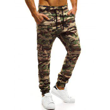 Camouflage Printed Pockets Cuffed Jogger Pants - WOODLAND CAMOUFLAGE M