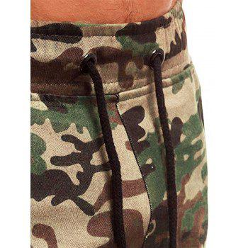 Camouflage Printed Pockets Cuffed Jogger Pants - WOODLAND CAMOUFLAGE S