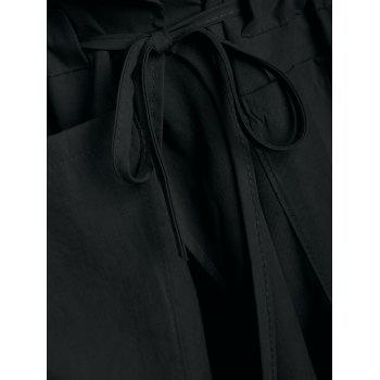 Hooded Drawstring Open Front Coat - BLACK XL