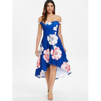 Floral Print Bare Shoulder High Low Dress - BLUE L