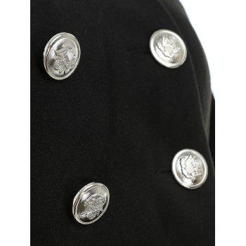 Double Breasted Front Pocket Cape Coat - BLACK XL
