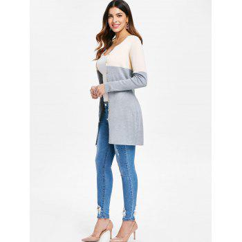 Button Up Color Block Cardigan - GRAY L