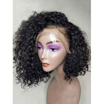 Short Side Bang Fluffy Water Curly Bob Human Hair Lace Front Wig - BLACK 12INCH