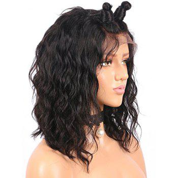 Short Free Part Water Bob Wavy Human Hair Lace Front Wig - BLACK 12INCH