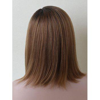 Medium Side Parting Straight Colormix Capless Human Hair Wig - BROWN