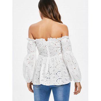 Lace Up Off The Shoulder Top - WHITE 2XL